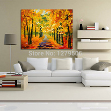 Handpainted Knife Streetscape Oil Painting On Canvas modern Scenery Picture Landscape oil Forest Maple Beauty picture
