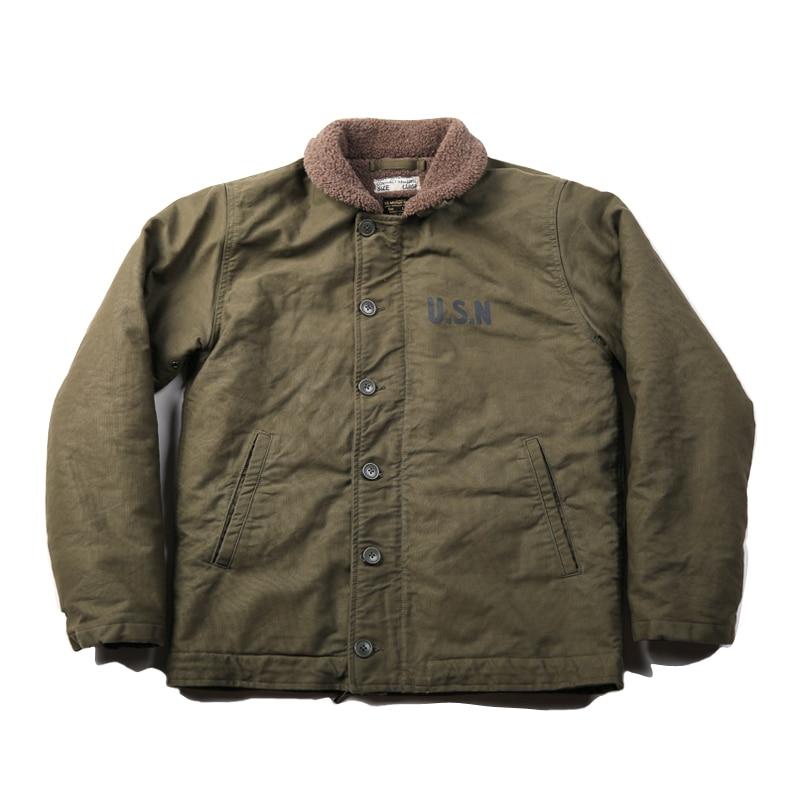 NON STOCK Vintage US Navy N-1 Deck Jacket Winter USN Men's Military Cotton Coat