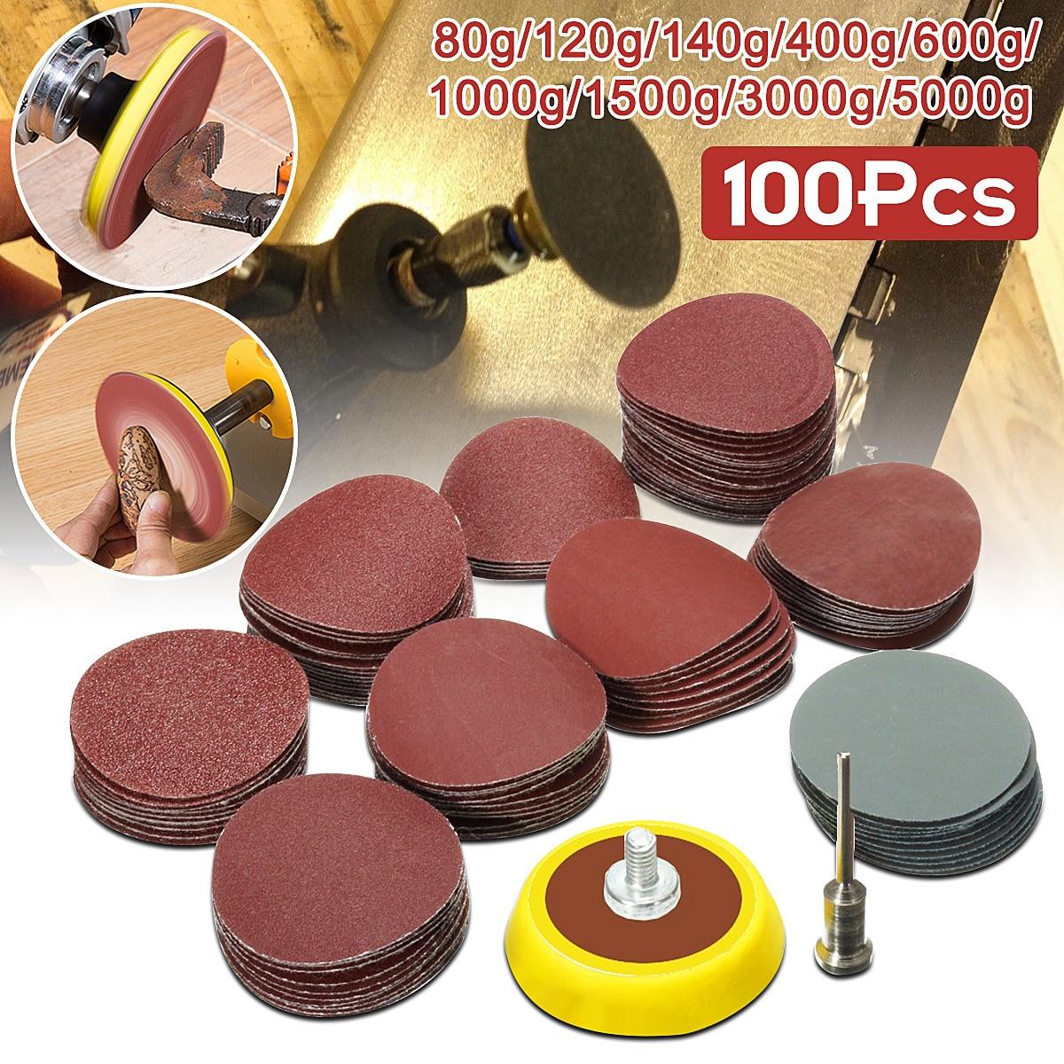 100 pçs 25mm/1 polegada lixa + 1 pçs 1 polegada gancho laço placa de apoio 1/8 polegada shank + 1 pçs loop lixa almofada abrasivos polimento misto