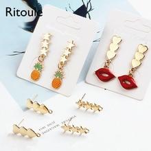 Ritoule DIY accessories Korea love star earringspalmbeach three alloy material pendant pendant earrings earrings. цена