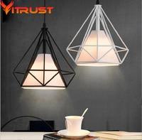 Industrial Birdcage pendant light Diamonds metal pendant lamp wrought iron Home Decorative Light Fixture
