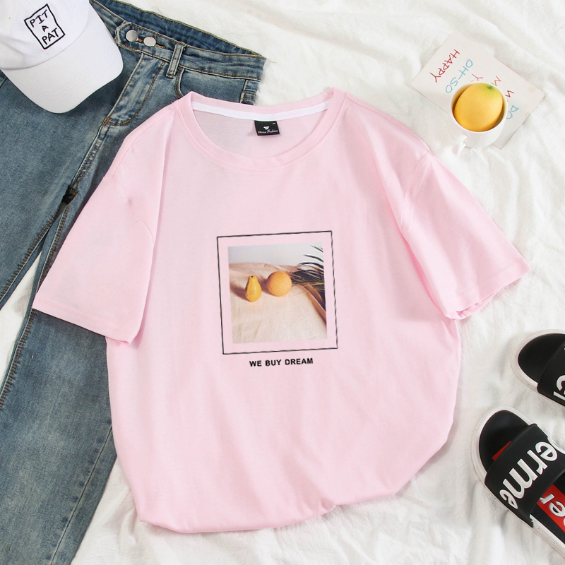 Pastel Colors Men Summer   T     shirt   Harajuku Lemon Printed Funny Tshirt Tops Full Cotton Short Sleeve Couples Female Clothes Tees