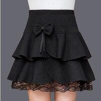 Women mini Lace Pleated skirts 2017 Autumn Fashion Wool bowknot Hight Waist skirt Ladies Skinny work pleated skirt For Ladies