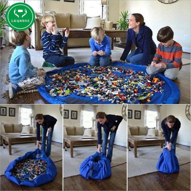 LKQBBSZ נייד ילדים ילדי תינוקות תינוק לשחק מחצלת גדול אחסון שקיות צעצועים ארגונית שמיכת שטיח קופסות לגו צעצועים