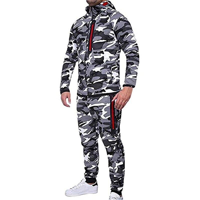 Men\`s Autumn Winter Snowboarding Camouflage Top Pants Slim Sports Suit Tracksuit Hoodies Camo Suit Long Sleeves Sweatshirt (9)