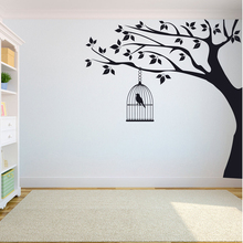 Tree Wall Decal Sticker Bedroom tree of life roots birds flying away home decor Bird cage on big A7-007