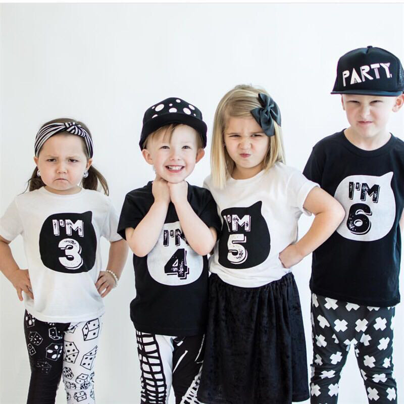 Children 1 2 3 4 Year Birthday T Shirts Party Costume Black White Shirt Boys Girl Clothes Kids Summer Cool Streetwear Tees Tops