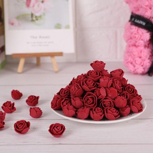 100 Pcs/Lot 3cm Mini PE Foam Rose Artificial Flower Head Home Decoration Wedding Party Wreath Supplies DIY Handicrafts Wholesale