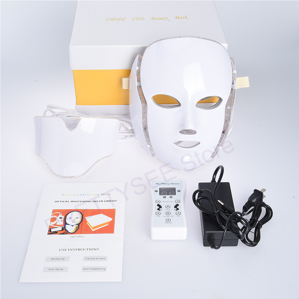 PRETTYSEE Photon LED Facial Mask 7 Color Light Photon Tighten Pores Skin Rejuvenation Anti Acne Wrinkle Removal Therapy Beauty 7 colors pdt photon therapy l