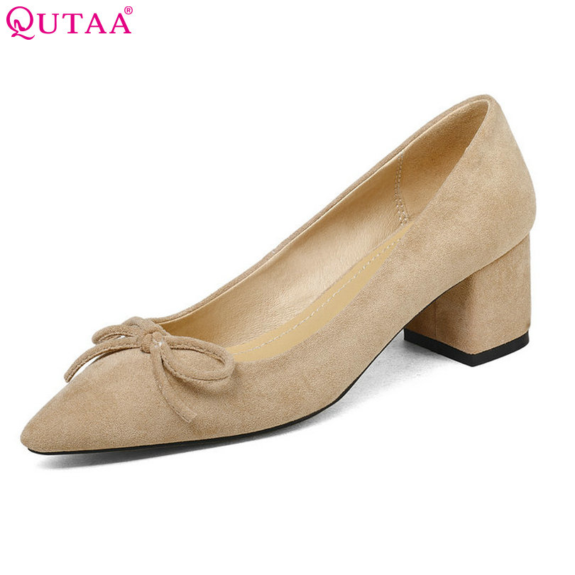 QUTAA 2018 Shoes Women Flock Square Med Heel Platform Women Pumps Gray Pointed Toe Fashion Ladies Wedding Woman Shoes Size 34-43 plus big size 34 47 shoes woman 2017 new arrival wedding ladies high heel fashion sweet dress pointed toe women pumps a 3