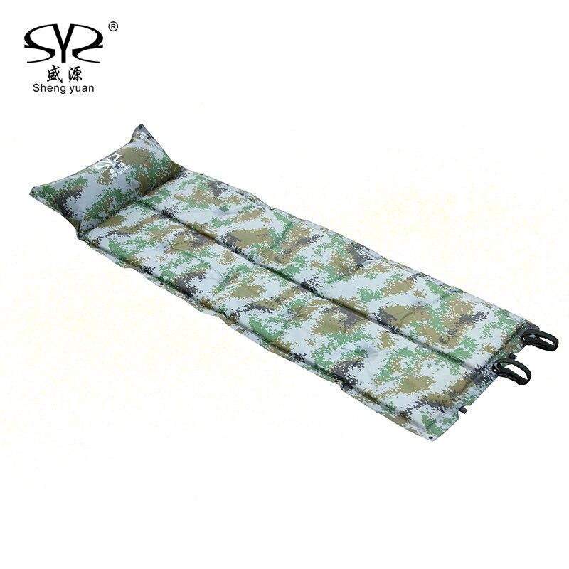SY nouveau matelas de Camping auto-gonflant matelas de couchage gonflable matelas d'air de Camping avec oreiller Portable pliant tapis de plage