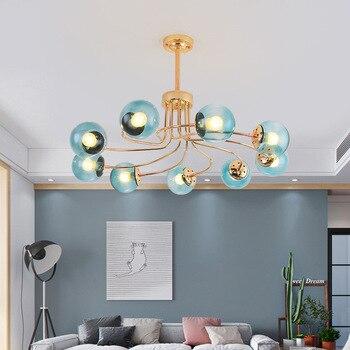 Postmodernen blau runde glas LED kronleuchter wohnzimmer ...
