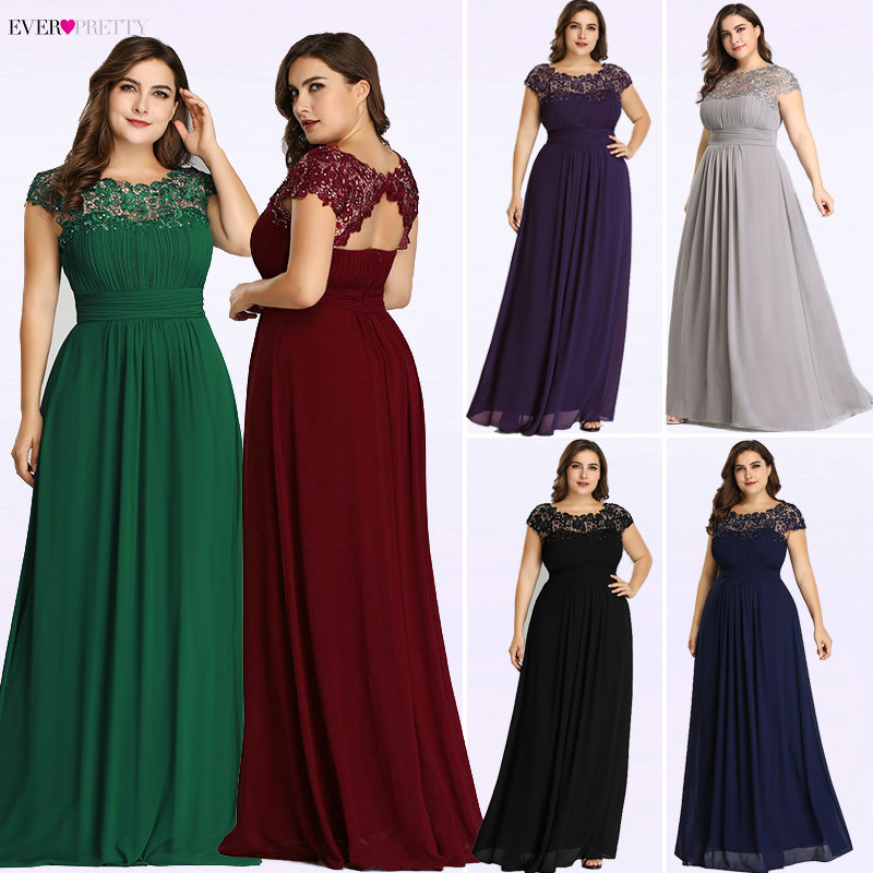 Ever Pretty Plus Size Evening Dresses 2019 New Arrival Elegant A Line Chiffon Open Back Long Lace Formal Party Gowns EP09993
