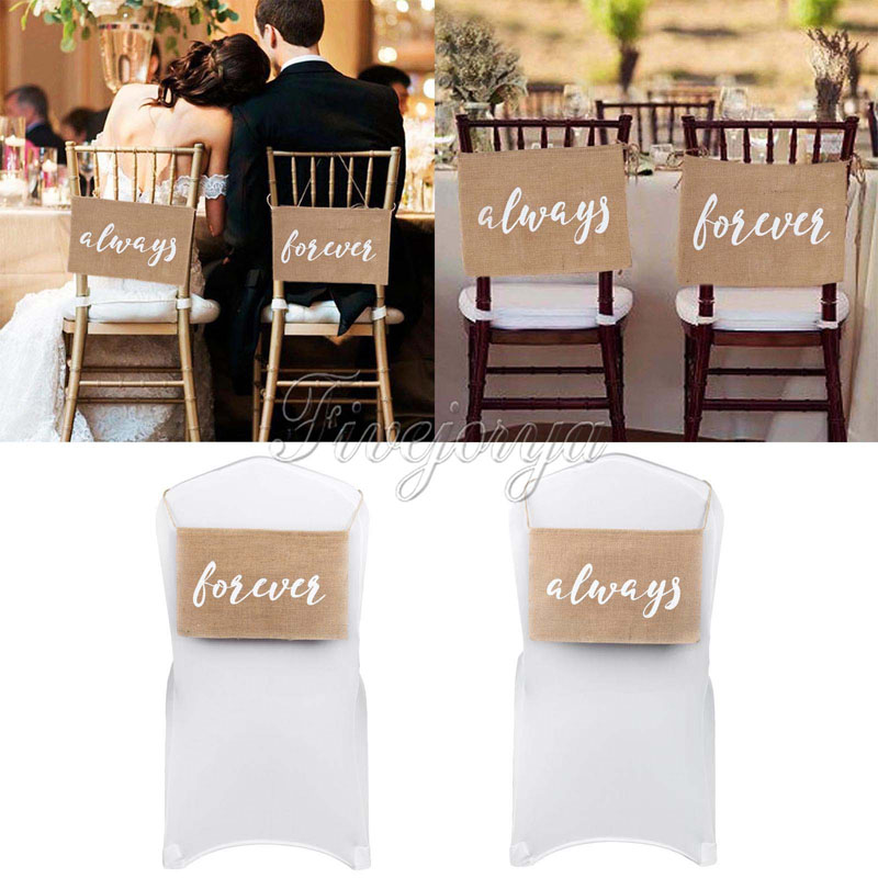 10 Sets always forever Burlap Chair Banner Burlap Chair Sign for Groom Bride Garland Rustic Wedding Party Decorations