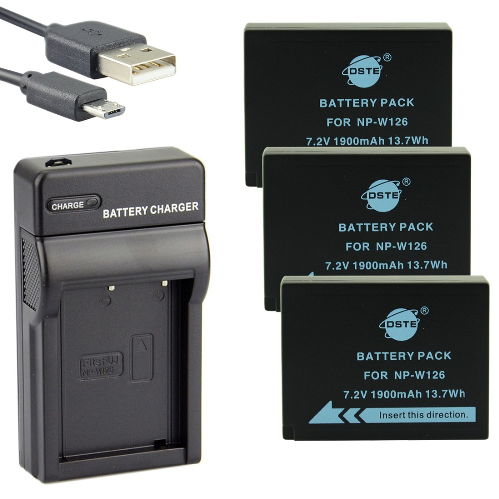 DSTE 3PCS NP-W126 NP-W126S Li-ion Camera Battery With USB Charger for Fuji HS50 HS35 HS33 HS30EXR XA1 XE1 X-Pro1 XM1 X-T10