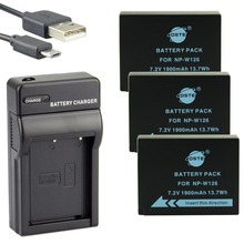 DSTE 3PCS NP W126 NP W126S Li ion Camera Battery With USB Charger for Fuji HS50