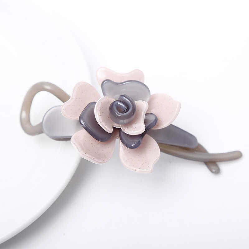 Hot Sale Middle hair pins and clips Korea Pink flower hair barrettes French Acetate Blooming Flower Fashion Hairpins SA011