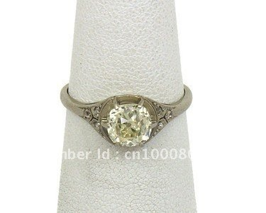 AMAZING ART DECO PLATINUM 1.4 CT EURO CUT DIAMOND W/ ACCENTS SOLITAIRE BAND RING