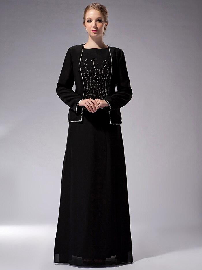 d5158808436 Cecelle 2019 скромные длинные черные платье для матери невесты костюмы с  курткой с длинным рукавом с