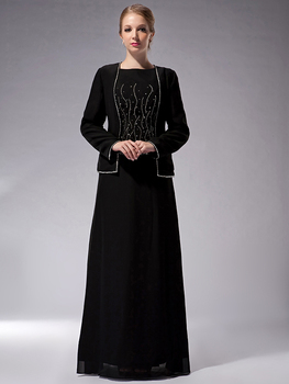 fd5b00a7506 Cecelle 2019 Modest Long Black Mother Of The Bride Dress Suits With Jacket  Long Sleeves Beaded Chiffon Mother s Formal Dresses