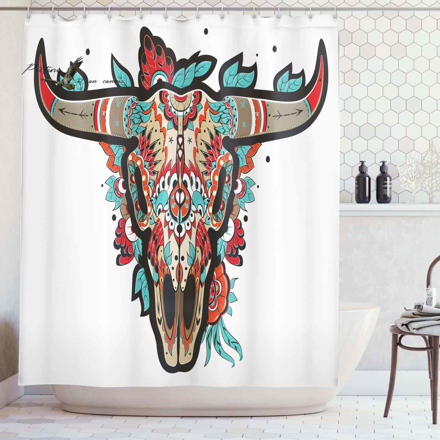 Western Shower Curtain Buffalo Sugar Mexican Skull Colorful Ornate Design Horned Animal Trophy Cloth Fabric Bathroom Decor Set