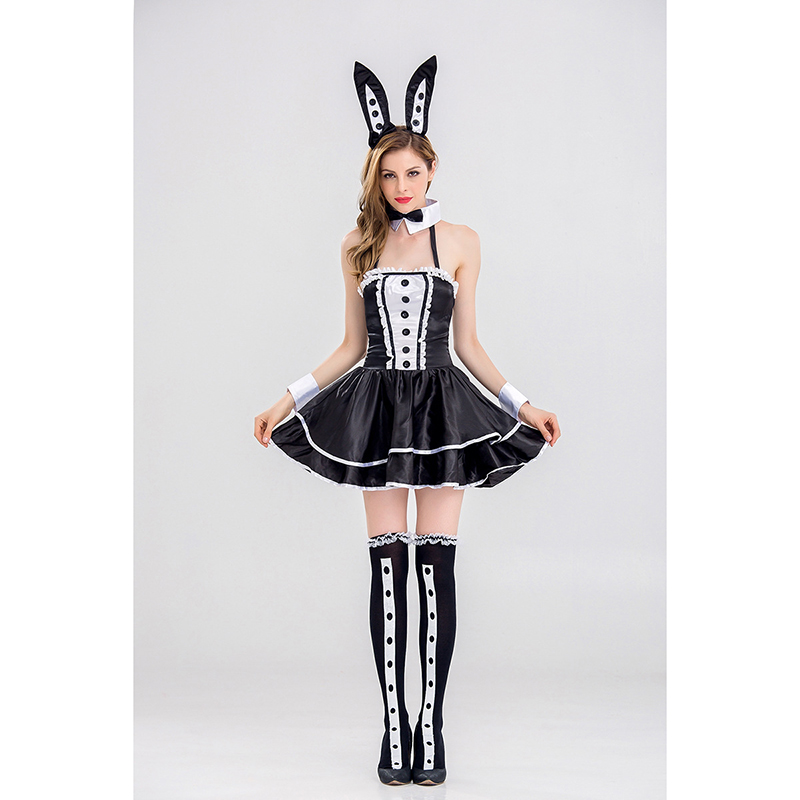 Halloween Hot Bunny Girl Rabbit Costumes Women Cosplay Sexy Black Skirt Adult Animal Costume Fancy Dress Club wear Party Wear