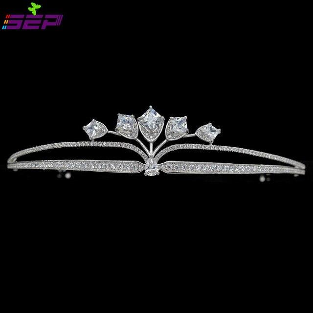 2016 Oferta Especial Hecho A Mano Pavimenta Cz Tiara Tiaras Nupciales Pelo de La Boda Accesorios de La Joyería Mujeres Pageant Crown Tr15090