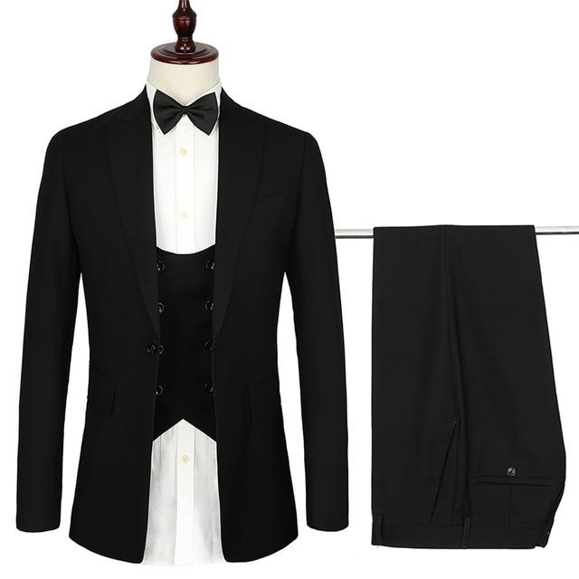 2019 الفرنسية تصميم رجل الدعاوى 3 قطعة اليورو حجم الرسمي نحيل أسود بدلة الزفاف للرجال سهرة لطيف الحديثة السترة مجموعات-في بدلة من ملابس الرجال على  مجموعة 1