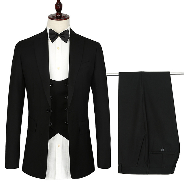 Erkek Kıyafeti'ten T. Elbise'de 2019 Fransız tasarım erkek takım elbise 3 adet euro boyutu Resmi Sıska siyah erkekler için Düğün suit Smokin Yumuşak Modern Blazer setleri'da  Grup 1