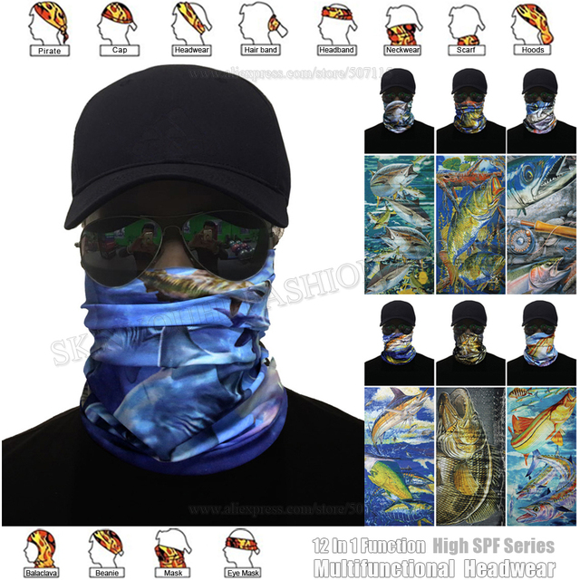 High Quality Anti-UV Outdoor Sailfish Tuna Style Multifunction Tubular  Bandana Fishing Balaclava Mask Magic Scarf Bass Headwear 53c8394a48e