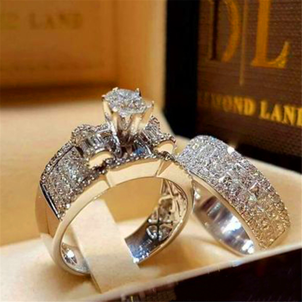 Boho Women Crystal White Round Ring Set Brand Luxury Promise Silver Engagement Ring Vintage Bridal Wedding Rings for lady