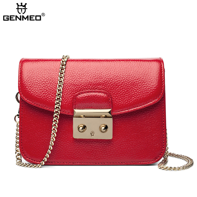 New Arrival Sexy Ladies Real Leather Famous Brand Design Bag 2017 Genuine Leather Fashion Handbags with Chains Shoulder Strap