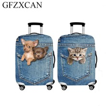 Cute animal 3D pattern suitcase protection cover 18-32 inch stretch denim printing luggage dust cover