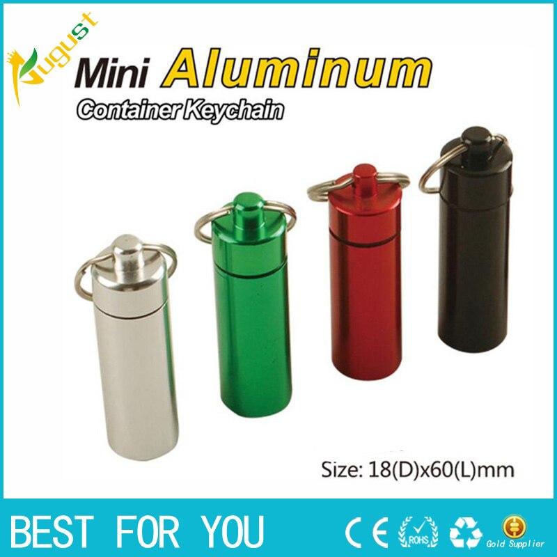 500 шт./лот тайник Pill Box Дело медицины 18*60 мм хранения брелок бутылка брелок металл Алюминий Водонепроницаемый бутылочку контейнер