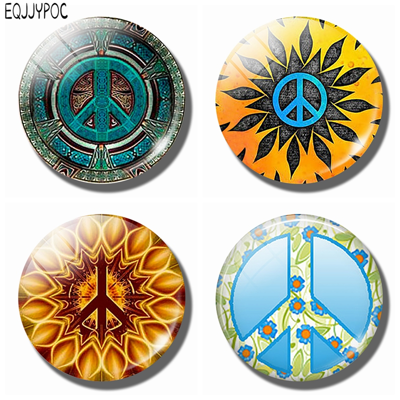 US $0 63 55% OFF|A Green Symbol of Peace Signs Magnetic Refrigerator  Sticker 30mm Glass Round Magnet Fridge Memo Kitchen Home Decoration-in  Fridge