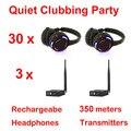Sistema completo negro led wireless auriculares Discoteca silenciosa Silencioso Clubbing Party Bundle (30 Auriculares + 3 Transmisores)