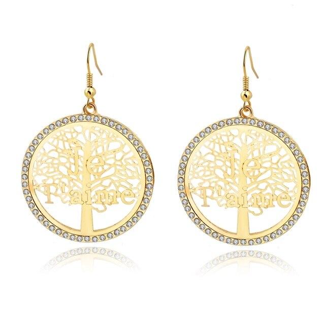 Фото женские серьги в форме дерева жизни chicvie круглые золотого