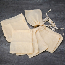 10pcs Cotton Teabags Empty Tea Bags Drawstring Strainer Spice Food Separate Filter Bag for Teaware