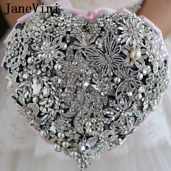 JaneVini Luxury Beaded Heart-shaped Pink Wedding Bouquets Sparkling Rhinestone Crystal Handmade Bridal Flowers Ramos De Flores
