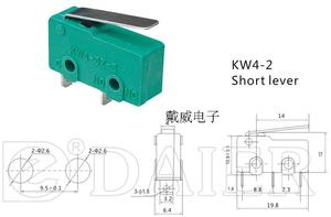 Image 2 - Original new 100% small 3pin micro switch travel switch KW4 3Z 3 with silver contact and handle 5A 250VAC