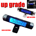 New 2 in1 Clip-on Car LCD Digital Blue Backlight Month Date Electronic Clock Thermometer Blue Led Digital Car Dual Display