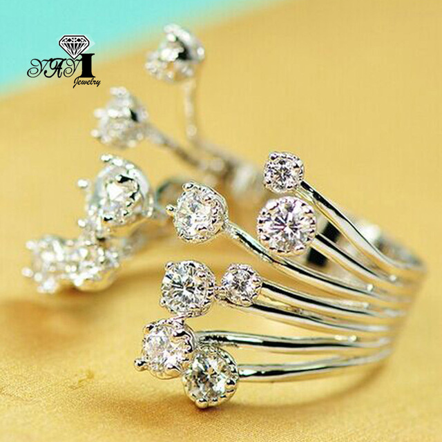 YaYI Jewelry Fashion  Princess Cut 2.8 CT White Zircon Silver Color Engagement  Rings wedding Heart Rings Party Rings