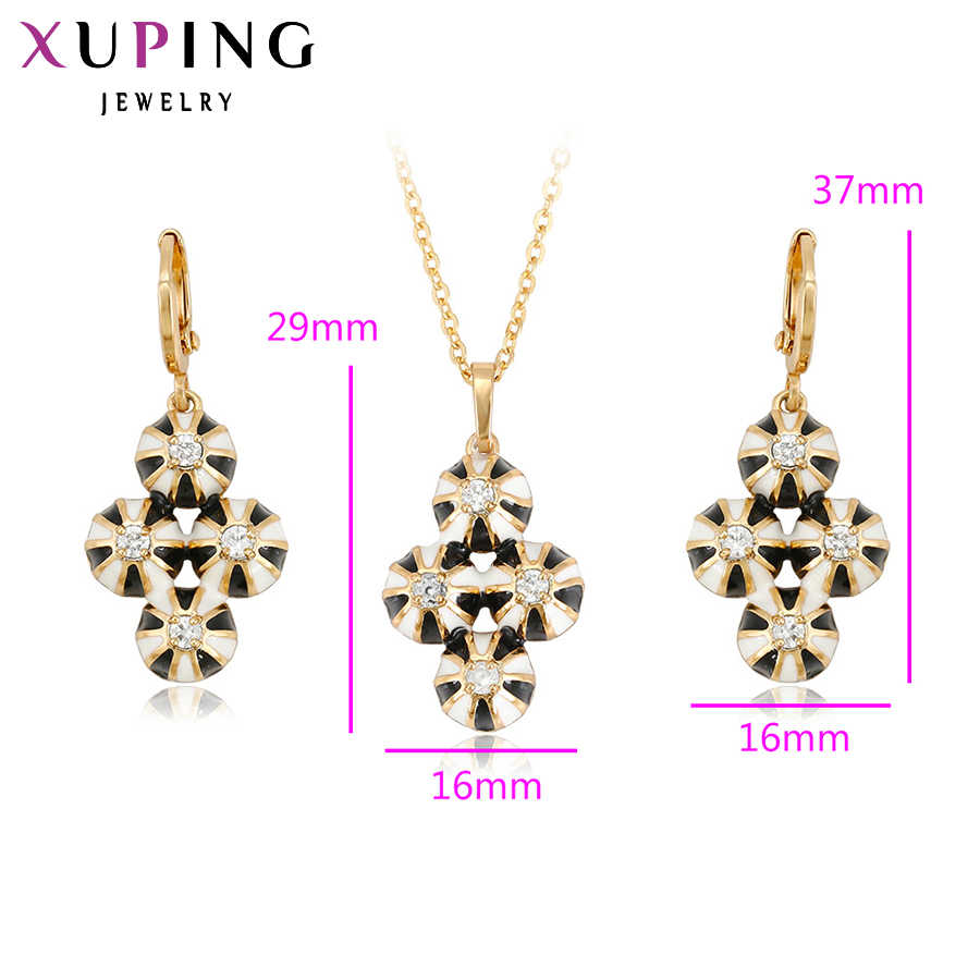 Xuping Fashion Set Unique Design Women Gold Color Plated Jewelry Sets Round Shape Pendant Earrings Thanksgiving Gift 62882