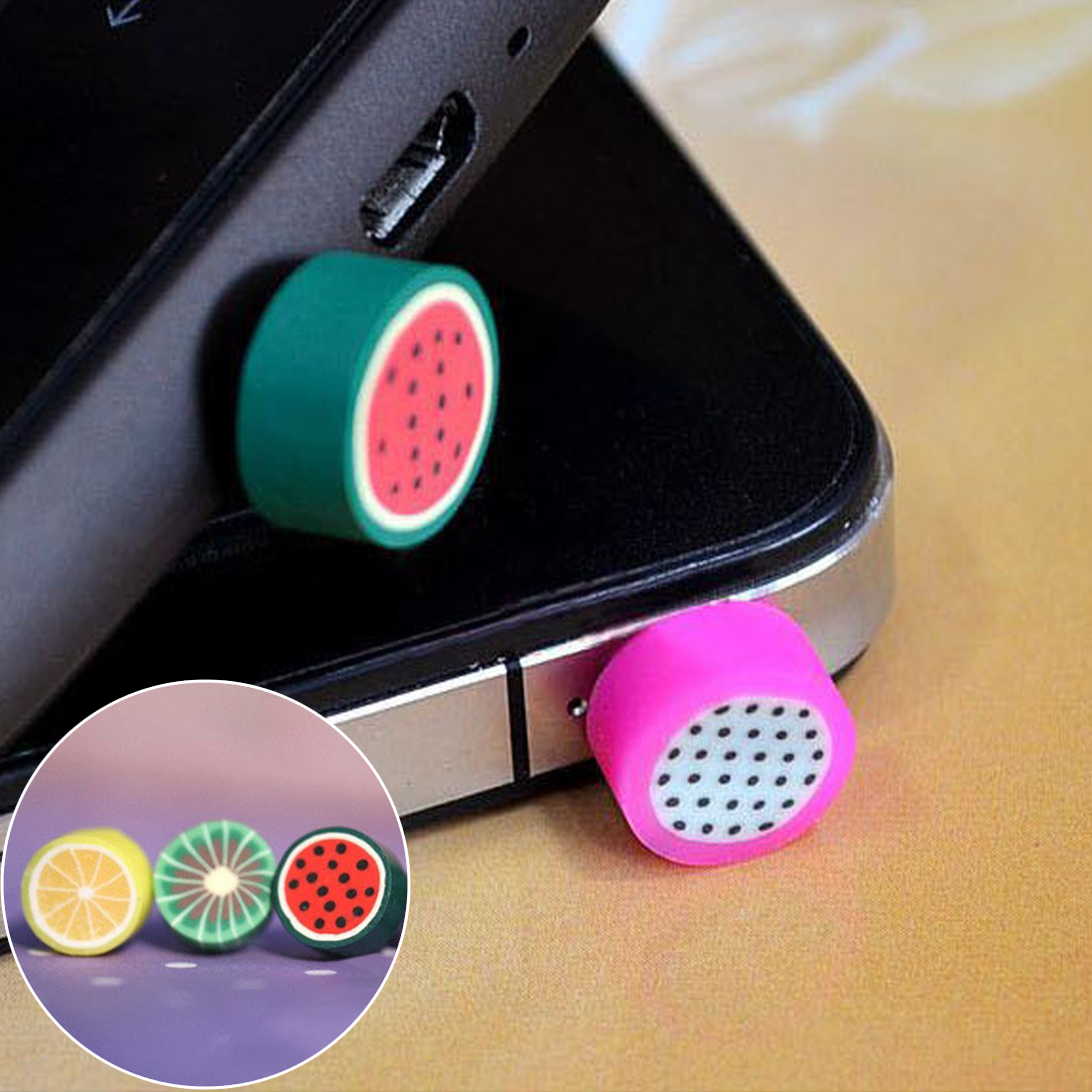 Simulated Lovely Fruit Phone Anti Dust Plug Cell Phone Accessories For All Normal 3.5mm Earphone Jack Plug randomly 1pcs