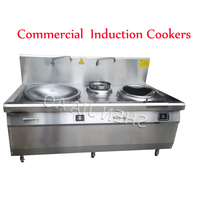 15KW/20KW Commercial Cooking Appliances Induction Cookers Electromagnetic Stir Fry Combination Furnace Double Fryer Cooker 380V
