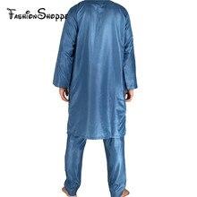 Large Size New Polyester Hot Sale Adult Islamic Mens Abaya Muslim Clothing Men's Ethnic Arab Robes Robe+Pant D445