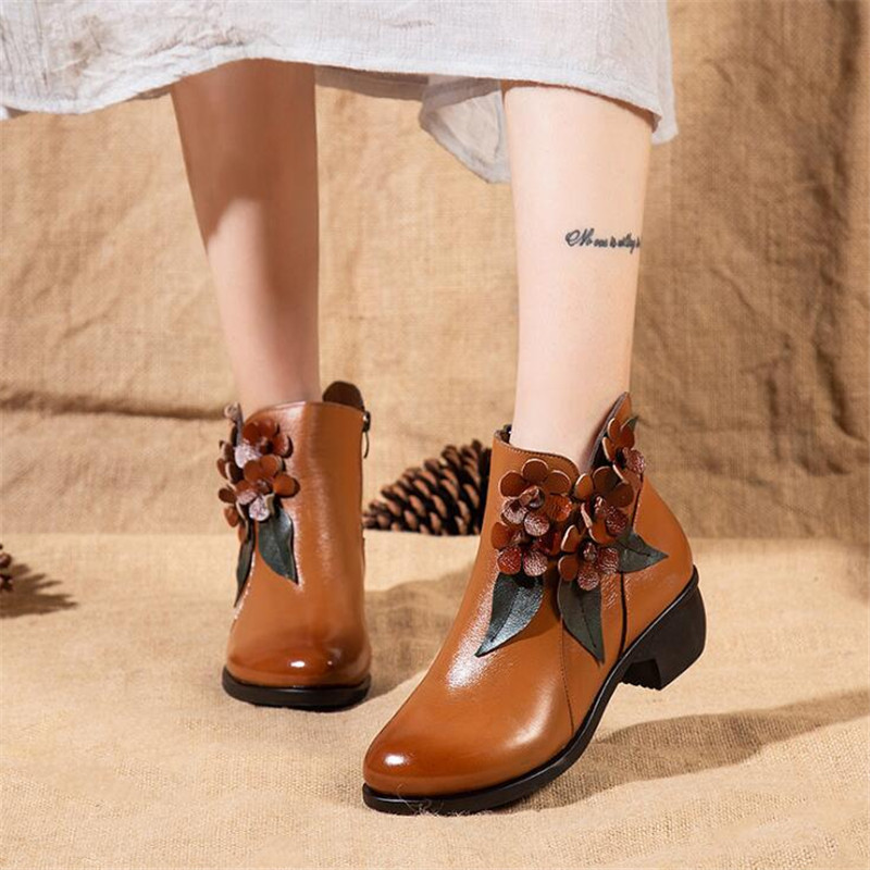 Autumn winter new womens boots handmade retro shoes Genuine Leather ladies boots high heels thick with comfortable ankle bootsAutumn winter new womens boots handmade retro shoes Genuine Leather ladies boots high heels thick with comfortable ankle boots