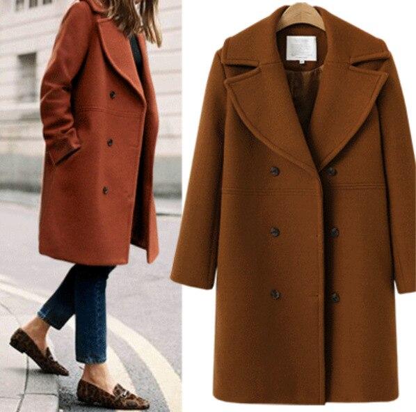 Medium red Woolen Windbreaker Cape khaki And Coat Brown Long Black American Cashmere European 2018 Large Women's Style coffee Size XTxq87nPw