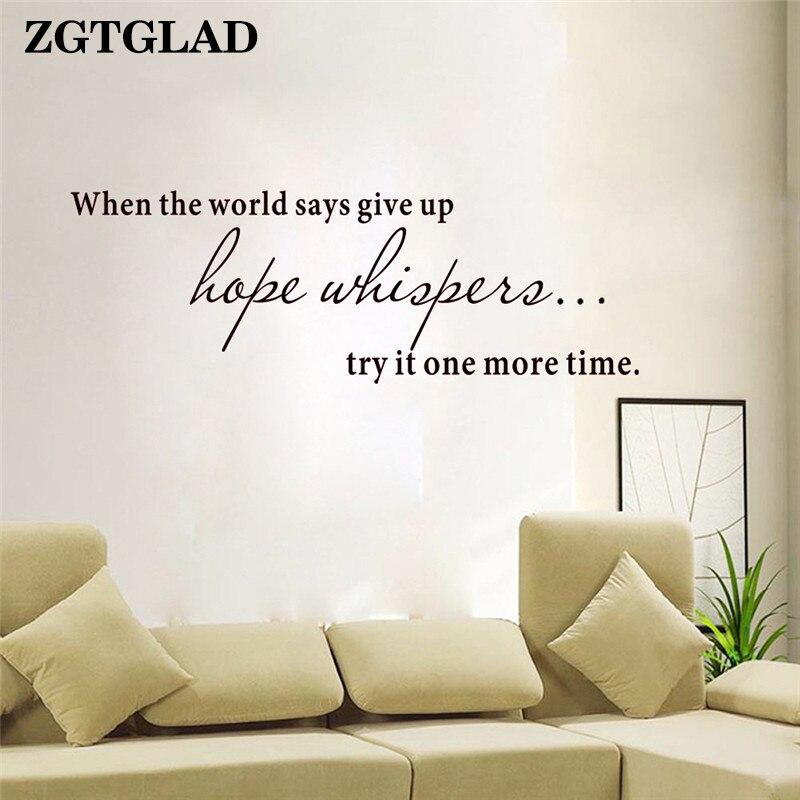 ZGTGLAD надеюсь шепчет стены стикеры для гостиных удаляет Книги по искусству фон Home Decor Спальня наклейки Лидер продаж