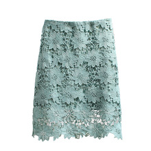 Summer Lace Skirt Women Elegant High Waist Pencil Skirts 2018 Fashion Korean Style Hollow Out 2019 Office Ladies Skirts цена и фото